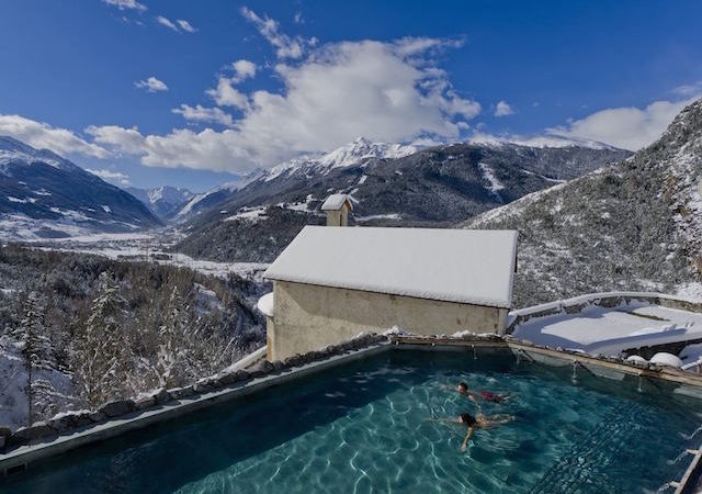 The pool of the Thermal Baths of Bormio in Lombardy