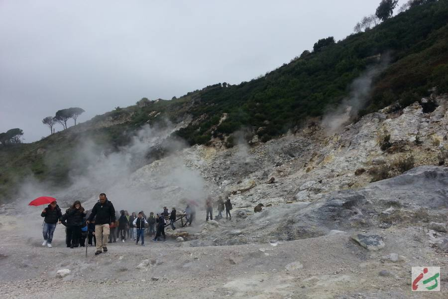People in Solfatara Volcano, Naples
